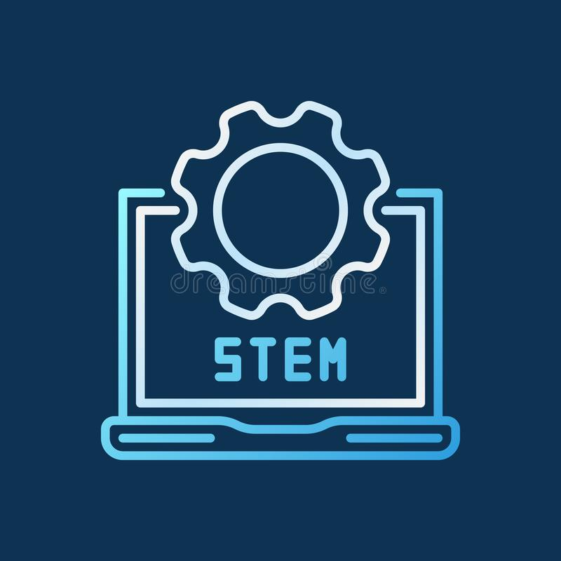 STEM laptop with cog vector linear colorful icon or logo vector illustration