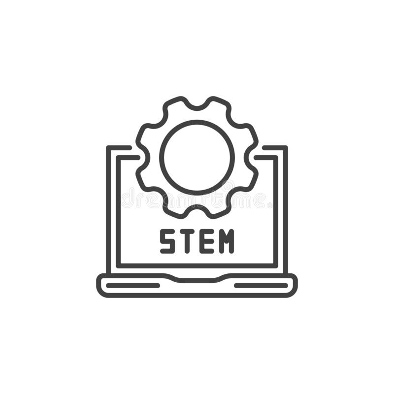 STEM laptop with gear vector outline icon or sign royalty free illustration
