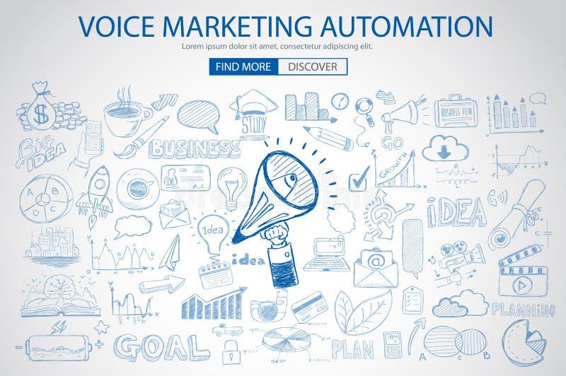 Stem Marketing concept met de stijl van het Krabbelontwerp stock illustratie