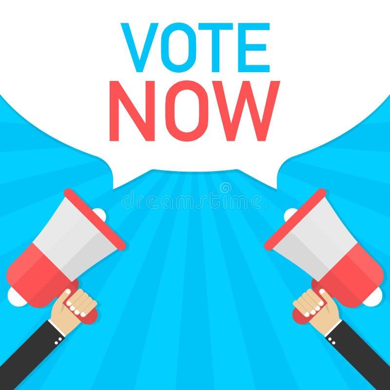 Stem nu - reclameteken met megafoon Vector illustratie stock illustratie
