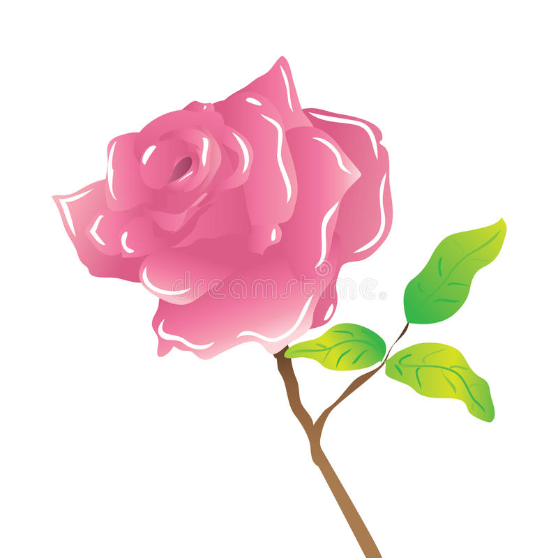 Download A stem pink rose on white stock vector. Illustration of concept - 25433362