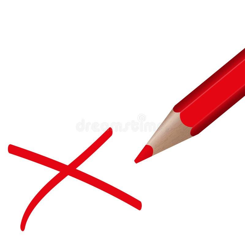 Stem - rood potlood stock illustratie