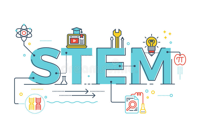 STEM - science, technology, engineering, mathematics. Illustration of STEM - science, technology, engineering, mathematics education word typography design with