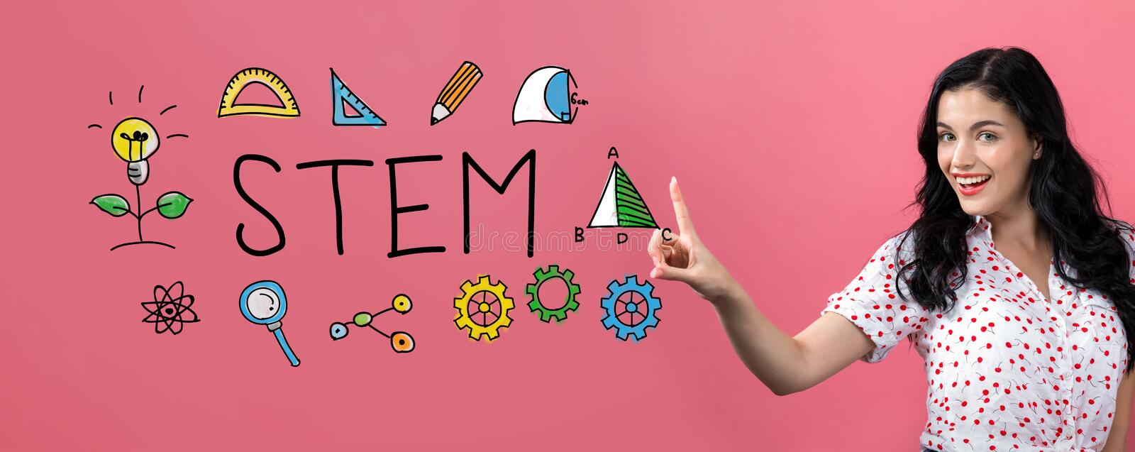 STEM with young woman royalty free stock photo