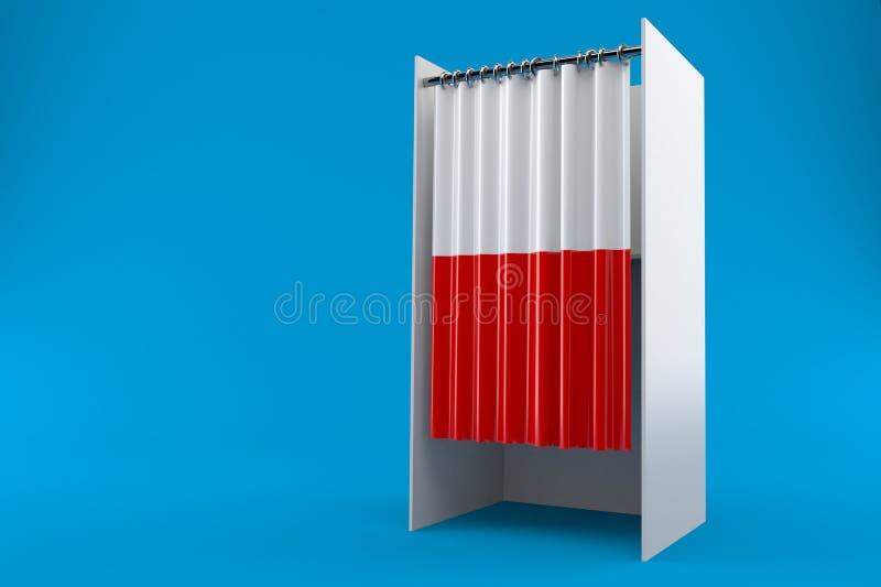 Stemkabinet met poetsmiddelvlag stock illustratie