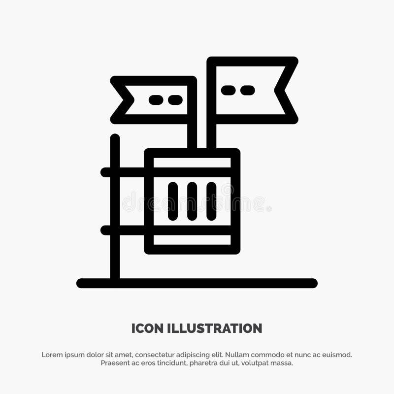 Stemming, Boycot, Verkiezing, Huisvuil, het Pictogramvector van de Troeplijn stock illustratie