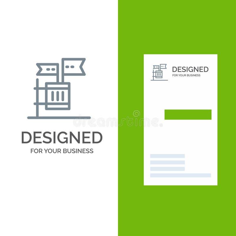Stemming, Boycot, Verkiezing, Huisvuil, Troep Grey Logo Design en Visitekaartjemalplaatje royalty-vrije illustratie