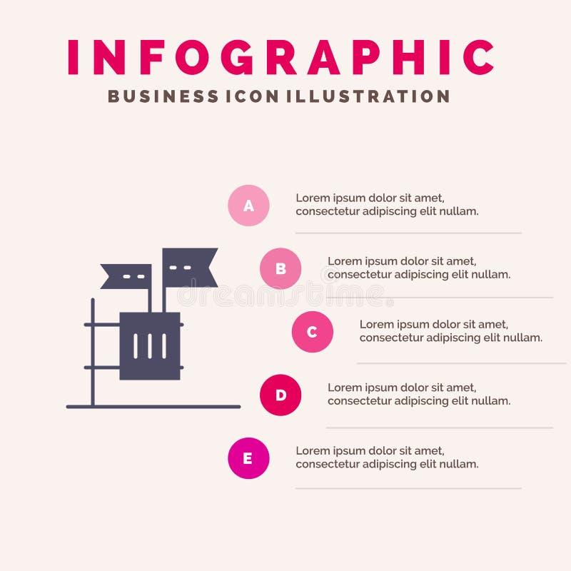 Stemming, Boycot, Verkiezing, Huisvuil, Troep Stevig Pictogram Infographics 5 de Achtergrond van de Stappenpresentatie stock illustratie