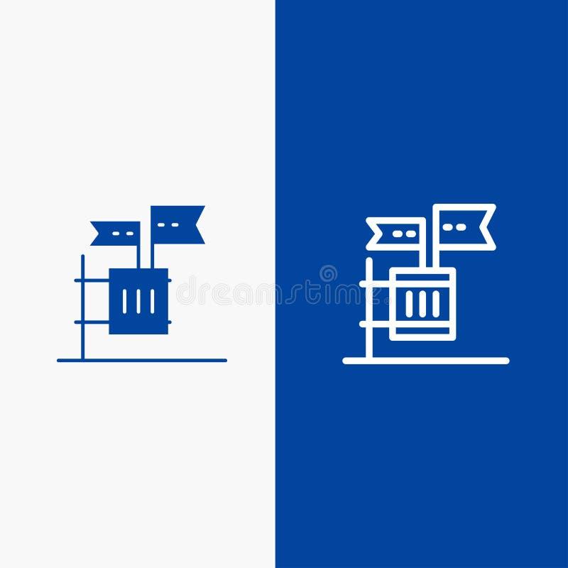 Stemming, Boycot, Verkiezing, Huisvuil, Troeplijn en Lijn van de het pictogram Blauwe banner van Glyph de Stevige en Stevige het  vector illustratie