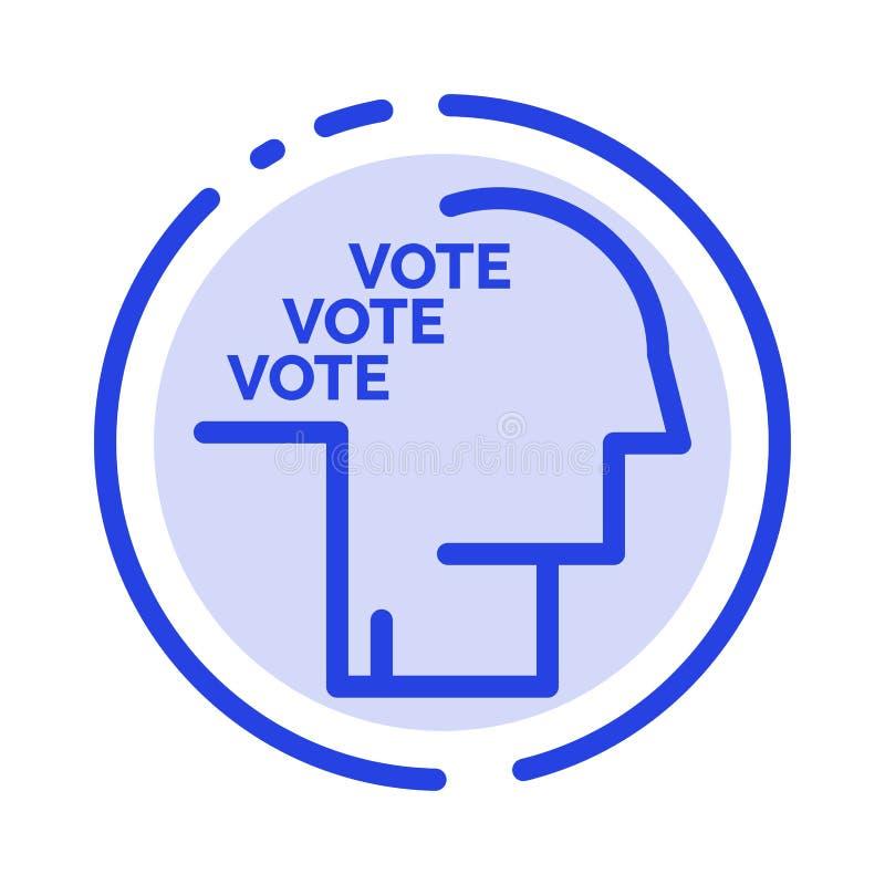 Stemming, Verkiezing, Opiniepeiling, Referendum, de Lijnpictogram van de Toespraak Blauw Gestippelde Lijn stock illustratie