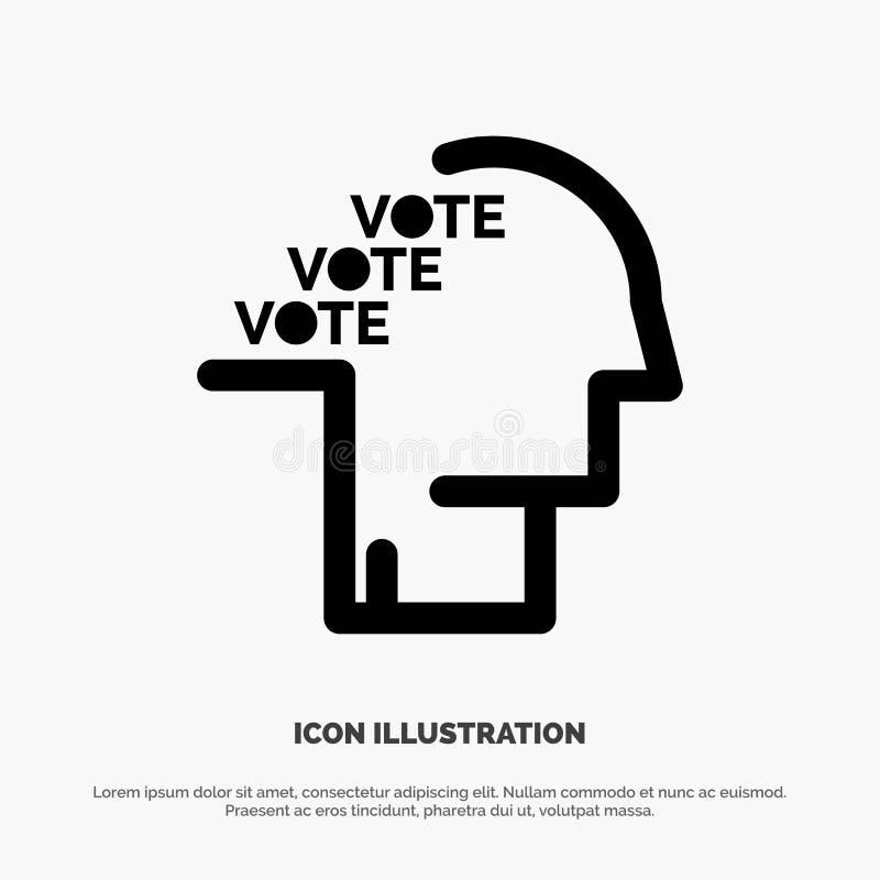 Stemming, Verkiezing, Opiniepeiling, Referendum, het Pictogramvector van Toespraak stevige Glyph stock illustratie
