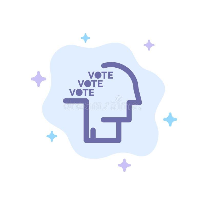 Stemming, Verkiezing, Opiniepeiling, Referendum, Toespraak Blauw Pictogram op Abstracte Wolkenachtergrond royalty-vrije illustratie