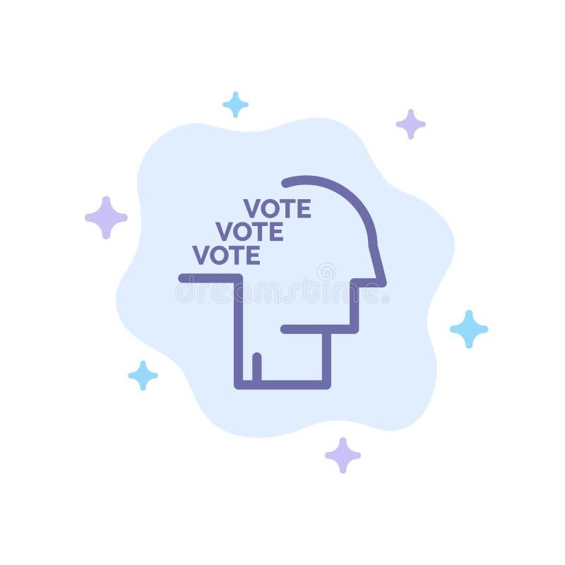 Stemming, Verkiezing, Opiniepeiling, Referendum, Toespraak Blauw Pictogram op Abstracte Wolkenachtergrond stock illustratie