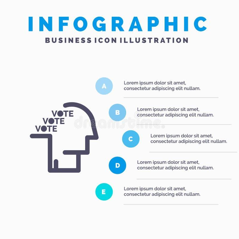 Stemming, Verkiezing, Opiniepeiling, Referendum, Toespraak Stevig Pictogram Infographics 5 de Achtergrond van de Stappenpresentat stock illustratie