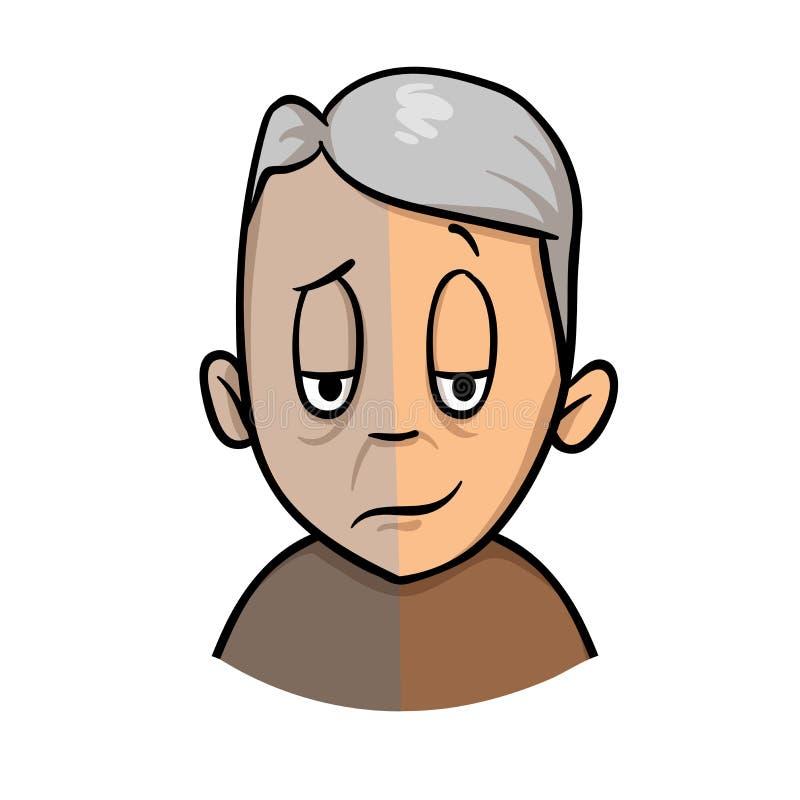 Stemmingsschommeling in hogere leeftijd Depressietekens en symptomen Het pictogram van het beeldverhaalontwerp Vlakke vectorillus vector illustratie