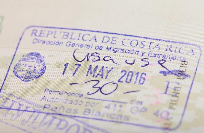 Stempel der Ankunft in Costa Rica stockbilder