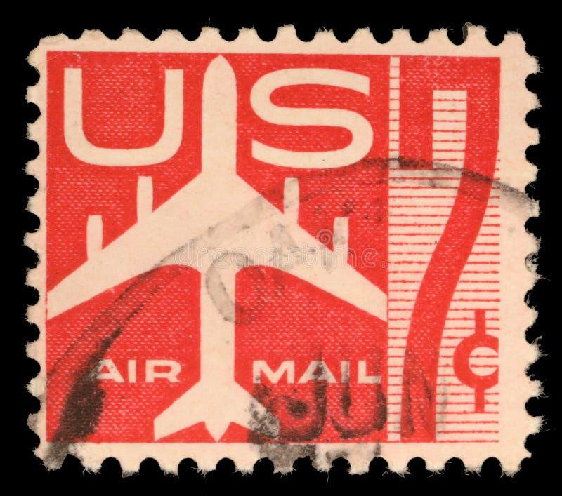 Stempel druckte in US, die Luftpostsymbole und die Druck Luftpost zeigen lizenzfreie stockfotografie