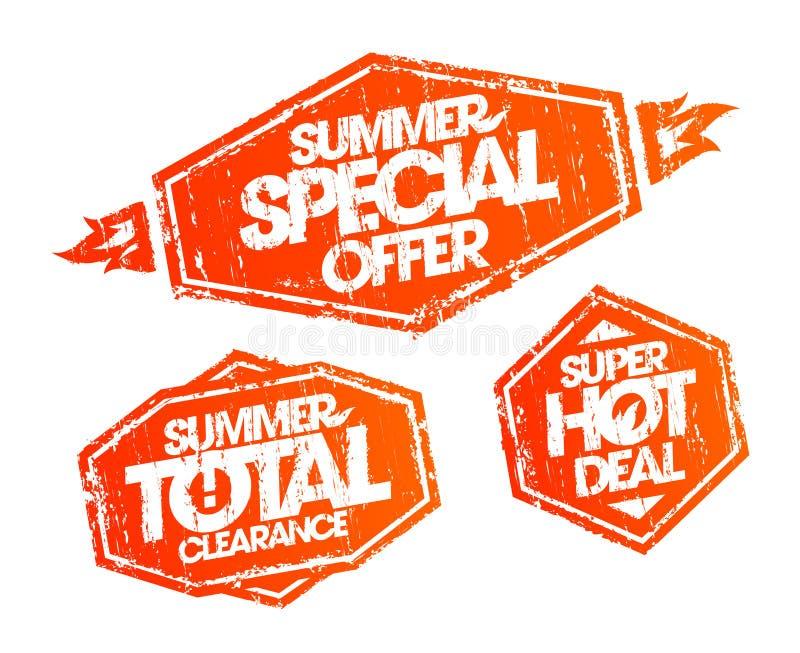 Stempel eingestellt - Sonderangebot des Sommers, Sommergesamtfreigabe, Sommerschnäppchen lizenzfreie abbildung