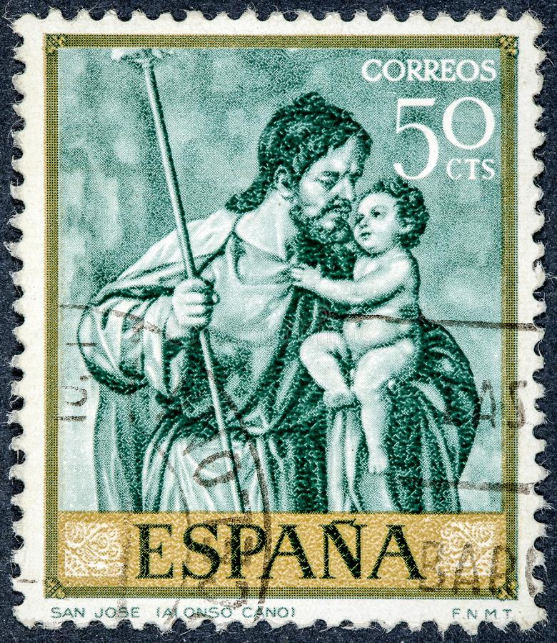 Stempel gedruckt durch Spanien, Shows Saint Joseph durch Alonso Cano lizenzfreies stockfoto