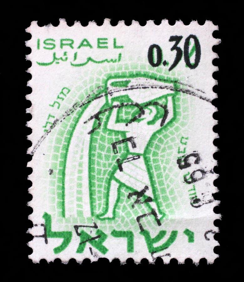 Stempel gedruckt im Israel, Showzeichen des Tierkreis Wassermannes, Monat des Sabbats stockfotos