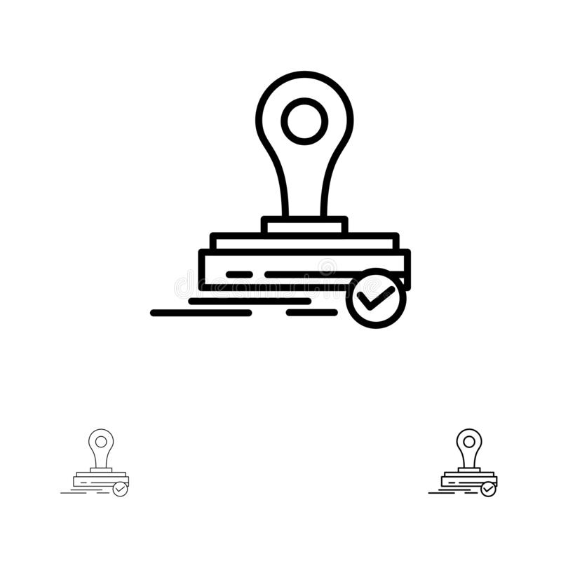 Stempel, Klon, Presse, Logo Bold und dünne schwarze Linie Ikonensatz stock abbildung