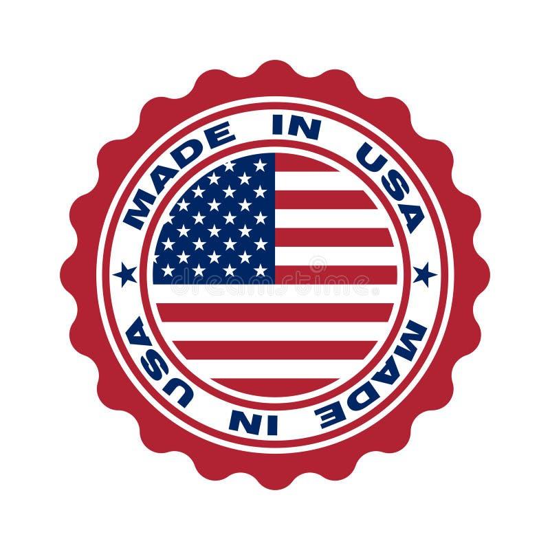 Stempel mit dem Text hergestellt in USA stock abbildung