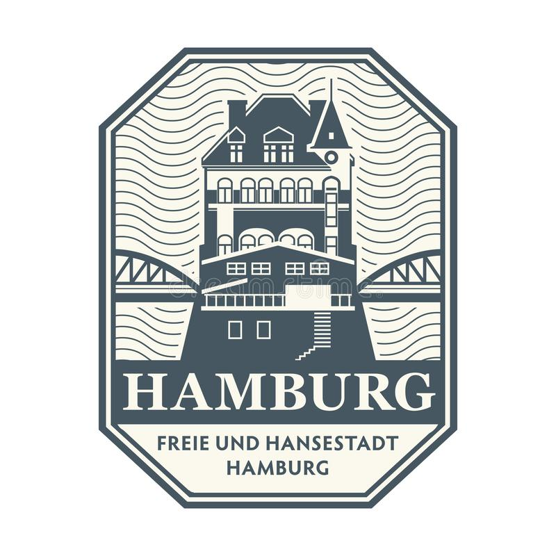 Stempel mit Lagerbezirksgebäude, Hamburg stock abbildung