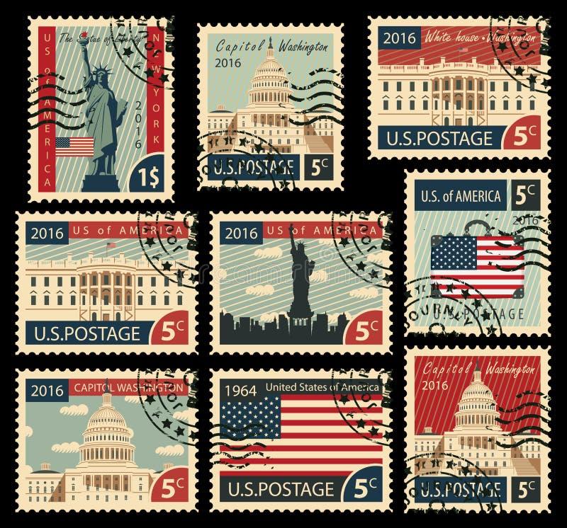 Stempel mit Marksteinen der Vereinigten Staaten von Amerika stock abbildung