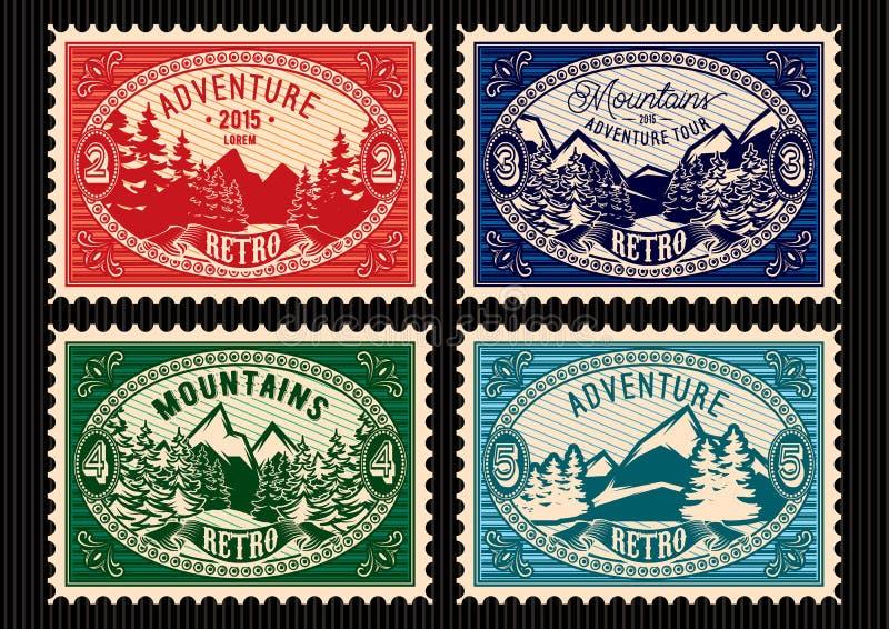 Stempel mit Tannenwald und -bergen lizenzfreie abbildung