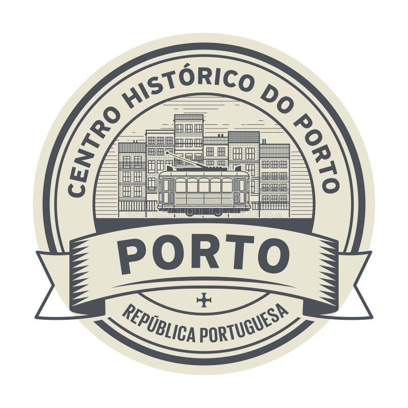 Stempel mit Tram, Porto, Portugal lizenzfreie abbildung