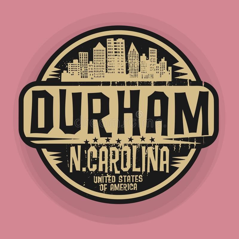 Stempel oder Aufkleber mit Namen von Durham, North Carolina lizenzfreie abbildung