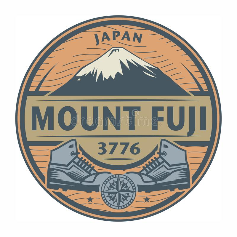 Stempel oder Emblem mit Text der Fujisan, Japan vektor abbildung