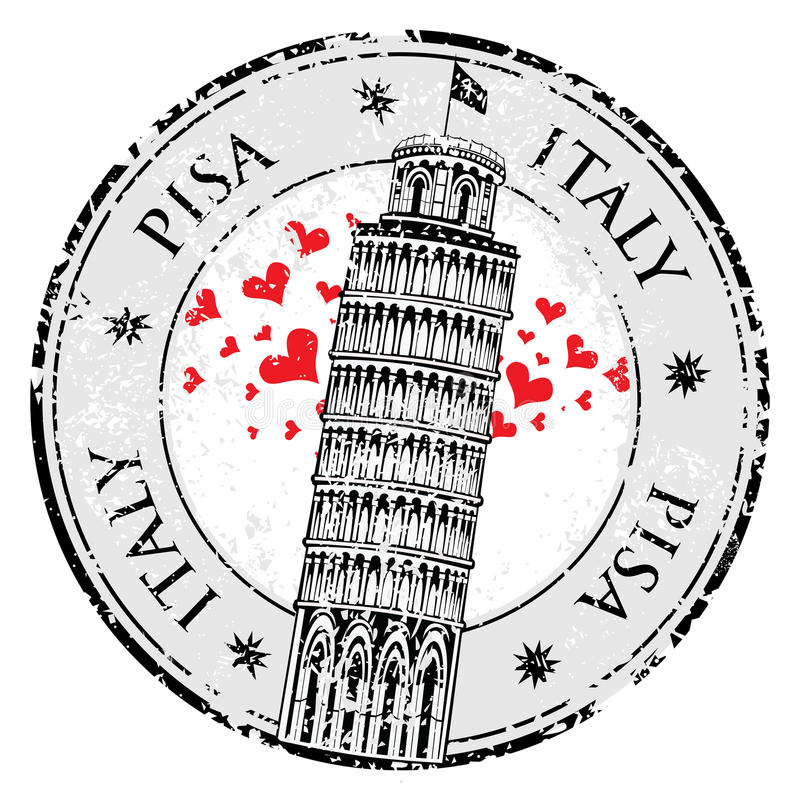 Stempel-Pisa-Turm in Italien, lizenzfreie abbildung