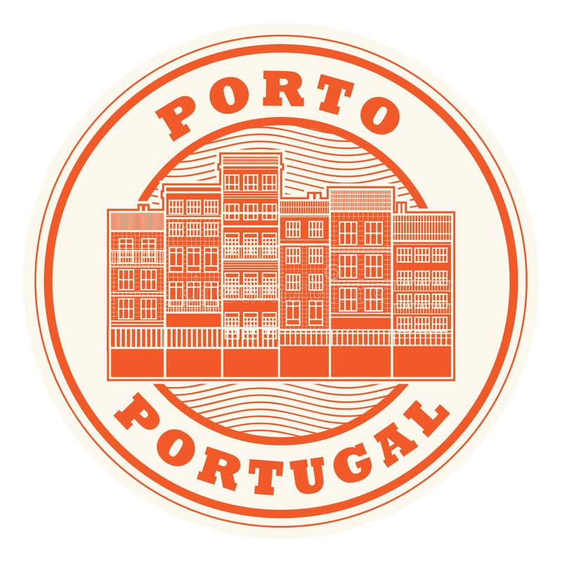 Stempel Porto, Portugal stock abbildung