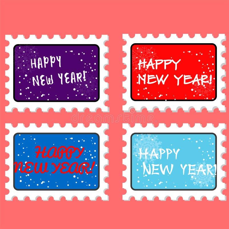 Stempel und Poststempel des neuen Jahres des Vektors stock abbildung
