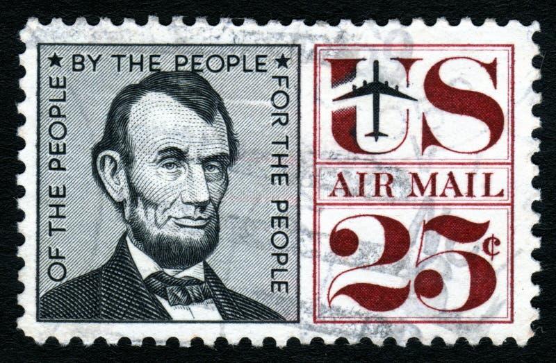 Stempel Weinlese-Lincoln-USA 25c lizenzfreie stockbilder
