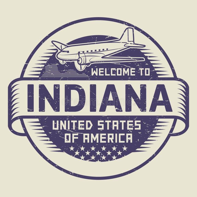 Stempel-Willkommen nach Indiana, Vereinigte Staaten lizenzfreie abbildung