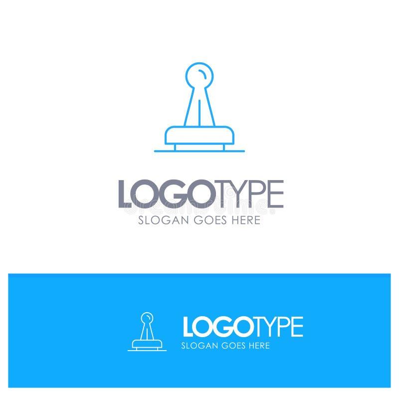 Stempel, Zustimmung, Berechtigung, legal, Kennzeichen, Gummi, blaues Logo Entwurf der Dichtung mit Platz für Tagline lizenzfreie abbildung