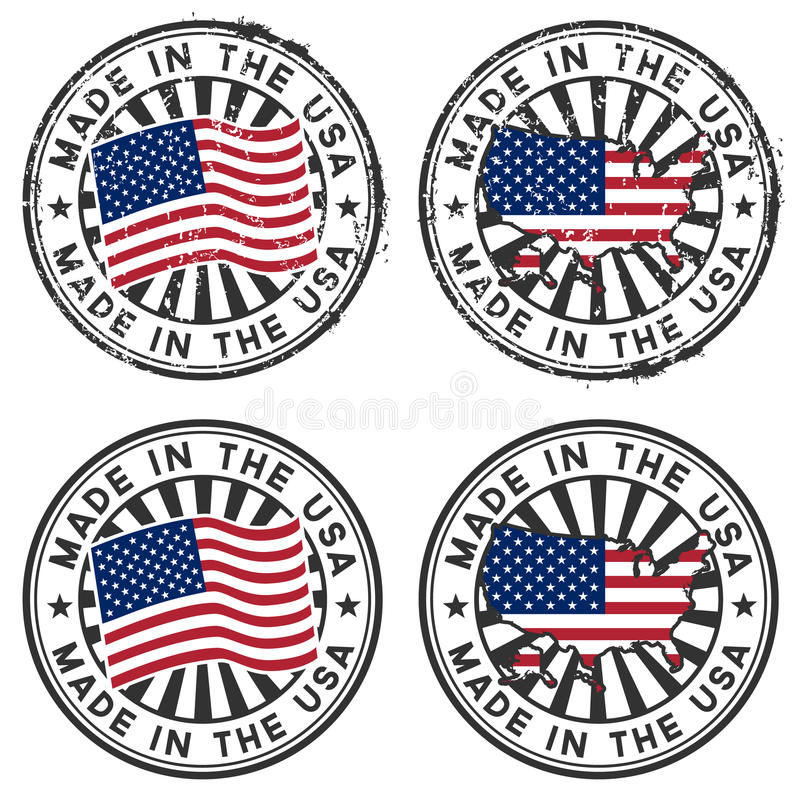 Stempeln Sie mit Karte, Markierungsfahne der USA. Gebildet in den USA. lizenzfreie abbildung
