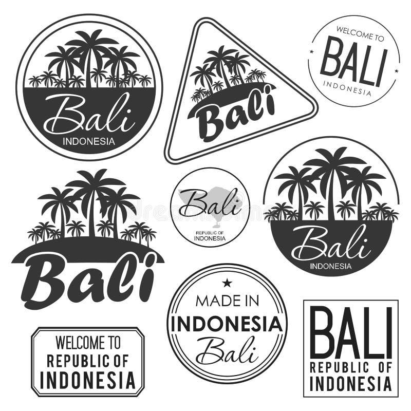 Stempeln Sie oder Aufkleber mit dem Namen von Bali-Insel, Vektorillustration lizenzfreie abbildung