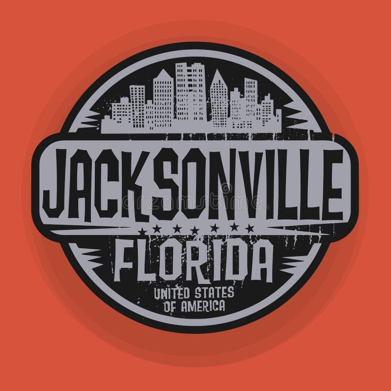 Stempeln Sie oder Aufkleber mit Namen von Jacksonville, Florida stock abbildung