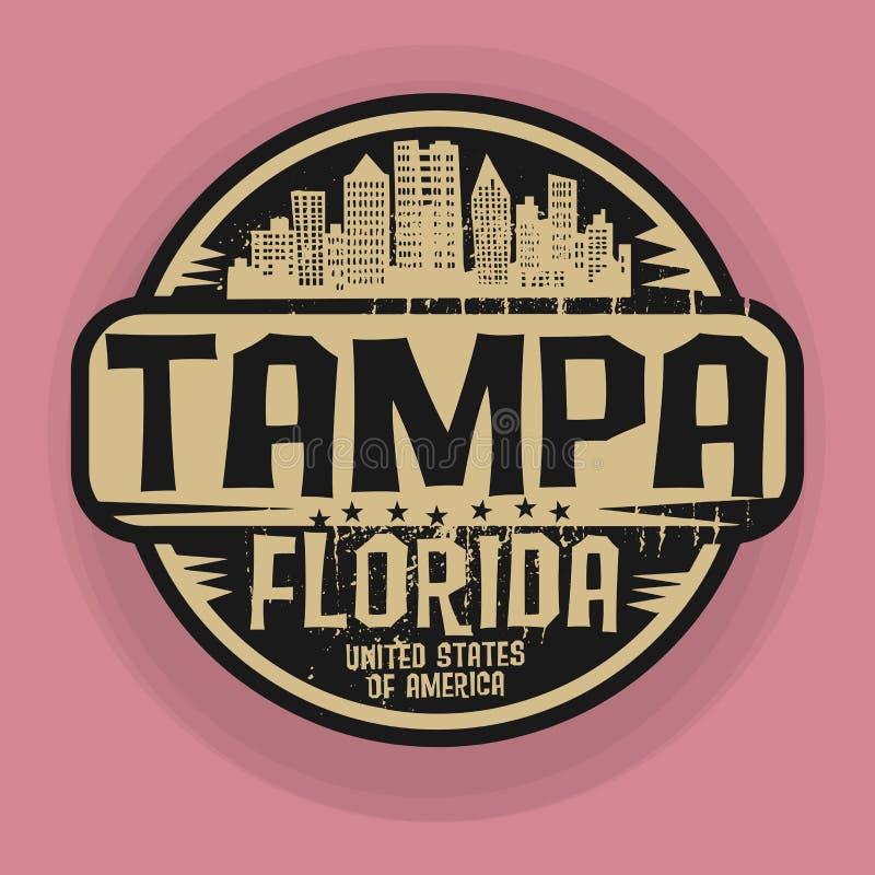 Stempeln Sie oder Aufkleber mit Namen von Tampa, Florida vektor abbildung