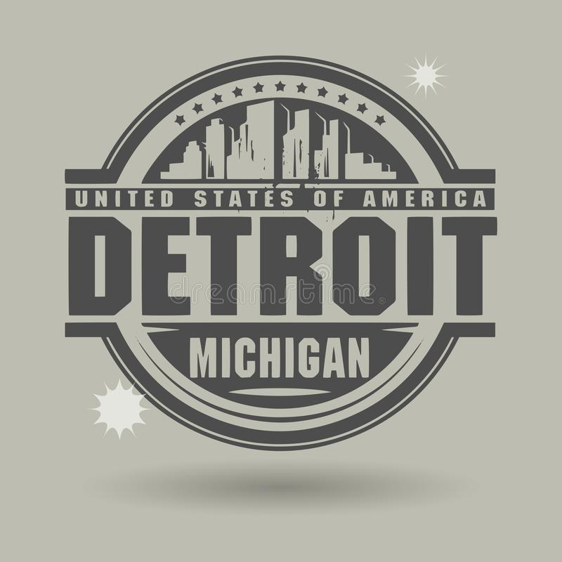 Stempeln Sie oder Aufkleber mit Text Detroit, Michigan nach innen vektor abbildung