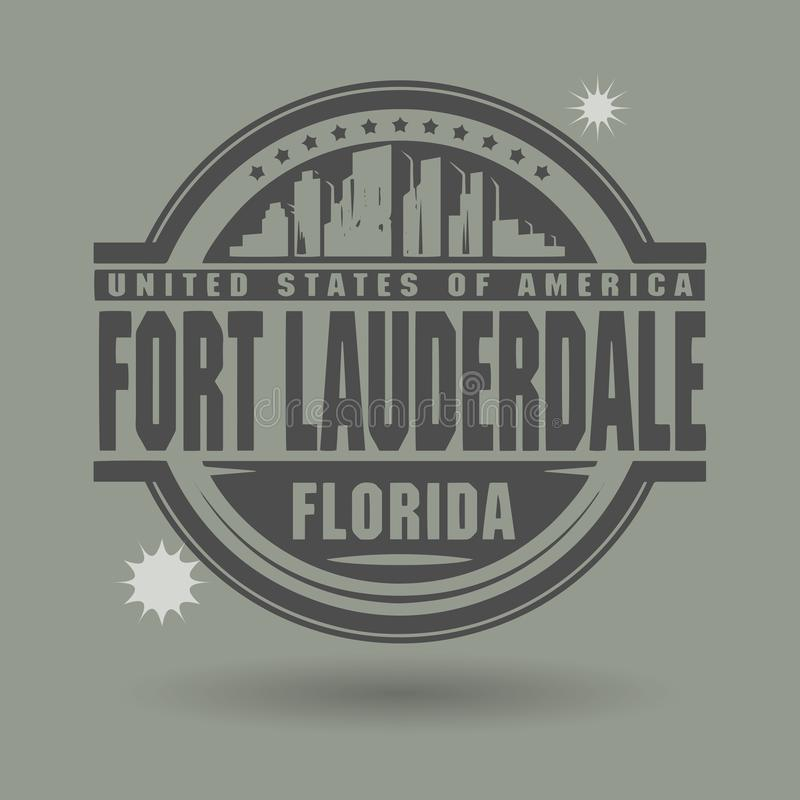 Stempeln Sie oder Aufkleber mit Text Fort Lauderdale, Florida nach innen vektor abbildung