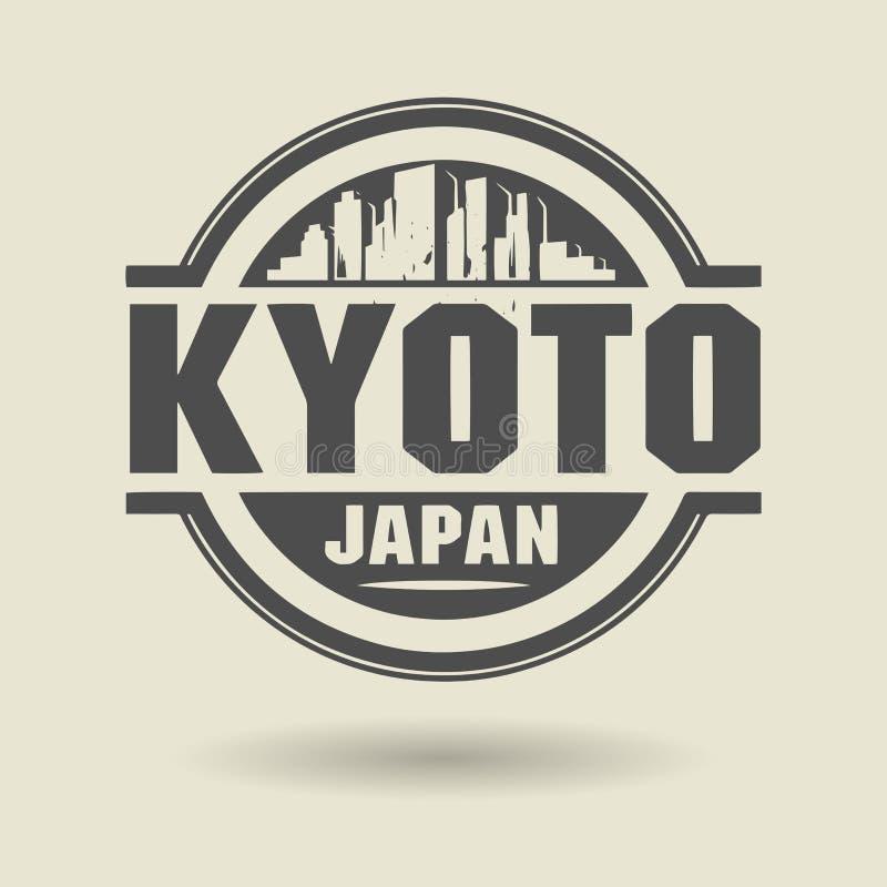 Stempeln Sie oder Aufkleber mit Text Kyoto, Japan nach innen stock abbildung