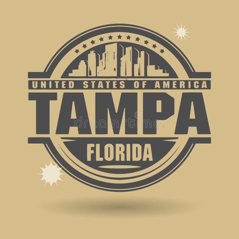 Stempeln Sie oder Aufkleber mit Text Tampa, Florida nach innen lizenzfreie abbildung