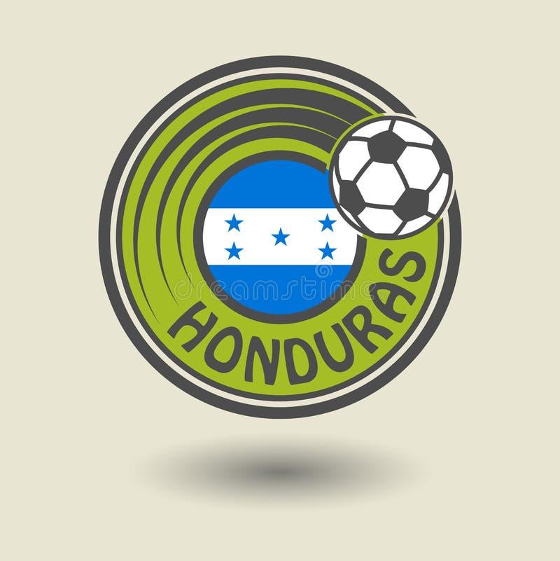 Stempeln Sie oder Aufkleber mit Wort Honduras, Fußballthema lizenzfreie abbildung