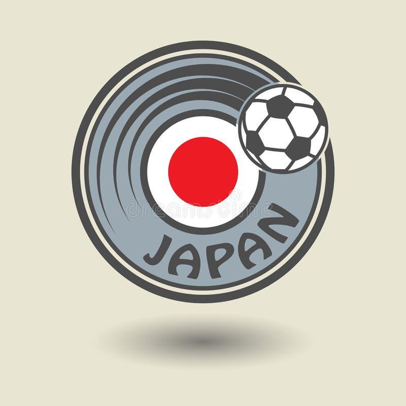 Stempeln Sie oder Aufkleber mit Wort Japan, Fußballthema lizenzfreie abbildung