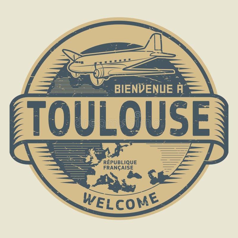 Stempeln Sie oder etikettieren Sie mit Flugzeug und Text Willkommen nach Toulouse, Frankreich lizenzfreie abbildung