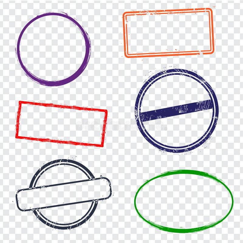 Stempelrahmen auf transparentem Hintergrund Sechs Stempelrahmen mit trockenen rauen Rändern vektor abbildung